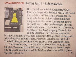 "Angekündigt als ""X-mas Jam Session im Schlosskeller"""